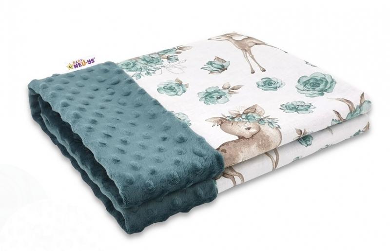 Baby Nellys Bavlněná deka s Minky 100x75cm, Srnka a růže - zelená
