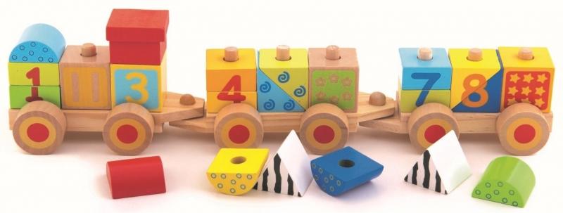 Trefl Dřevěný vláček s čísly
