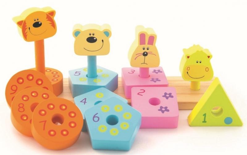Trefl Dřevěná navlékačka - Zvířátka a číslice s tvary