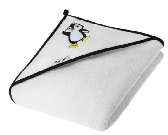 Akuku Dětská osuška s kapucí 100x100cm, froté - Tučnák, bílá