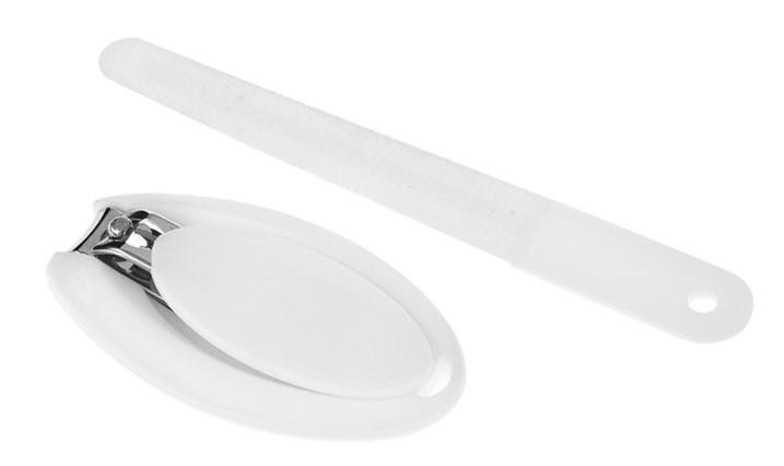 Akuku Sada na manikúru - kleštičky + pilník, bílá