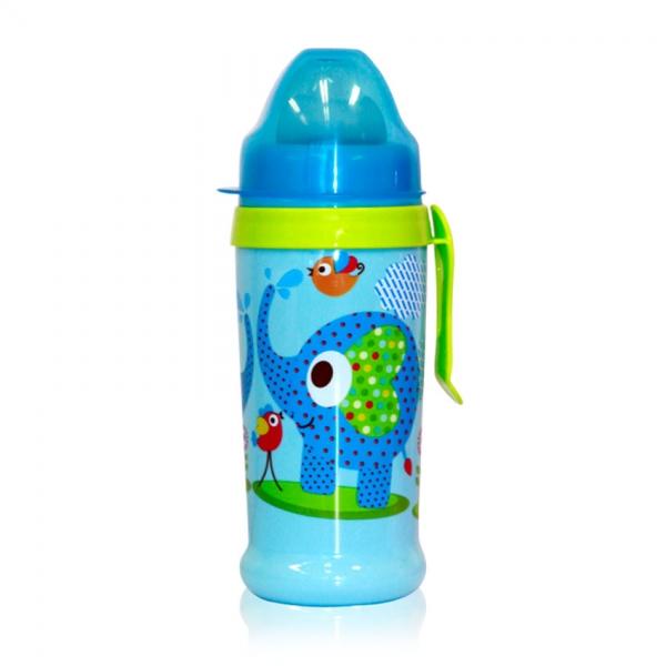 Netekoucí láhev Lorelli s pítkem 360 ml, klip ZOO BLUE