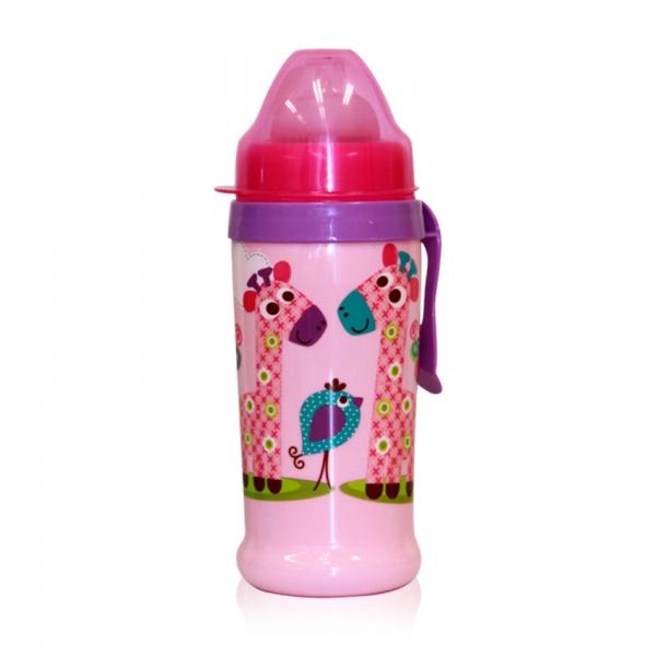 Netekoucí láhev Lorelli s pítkem 360 ml, klip ZOO PINK