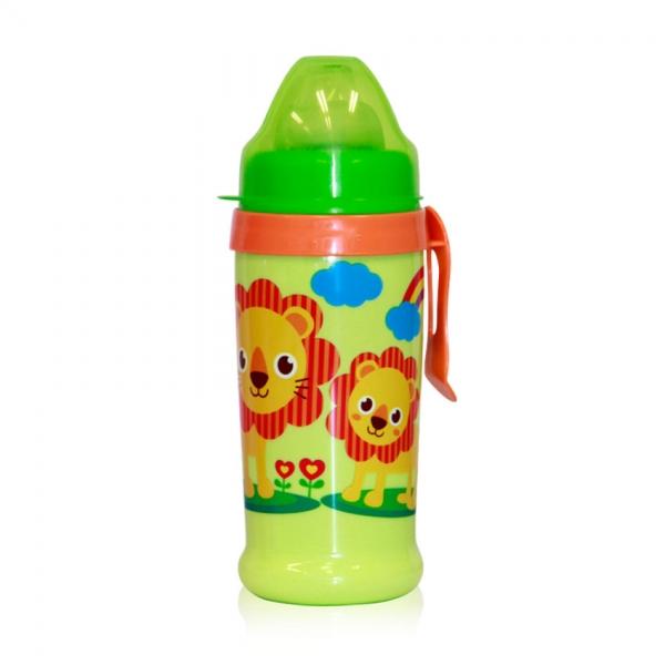 Netekoucí láhev Lorelli s pítkem 360 ml, klip ZOO GREEN