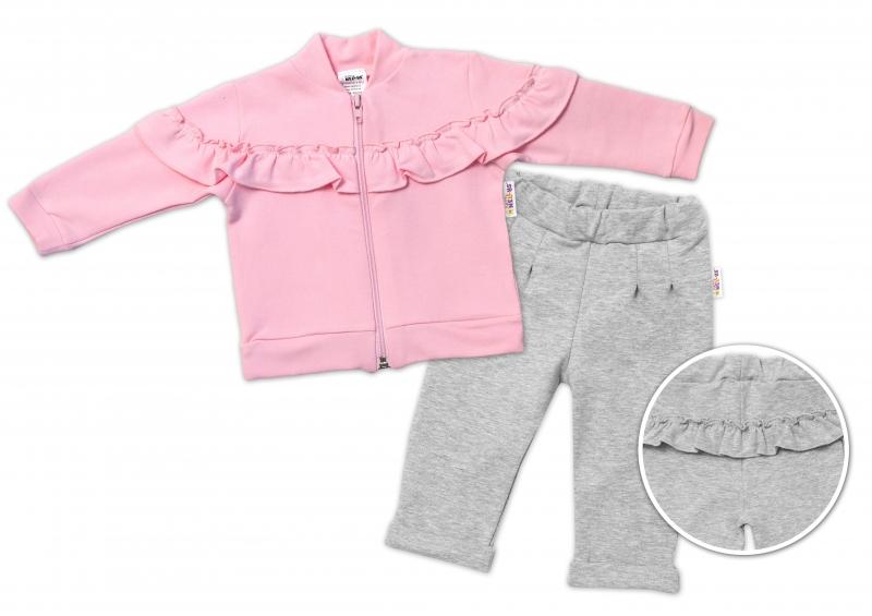 BABY NELLYS Dětská tepláková souprava s volánkem SWEET LADY - růžová, šedá