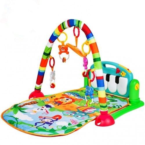 Tulimi Hrající interaktivní podložka s hrazdičkou a chrastítky, Hrající zvířátka, zelená