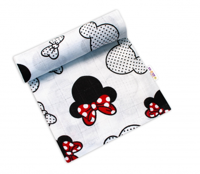 Baby Nellys Kvalitní bavlněná plenka - Tetra Premium, 70x80cm - myška Minnie, bílá