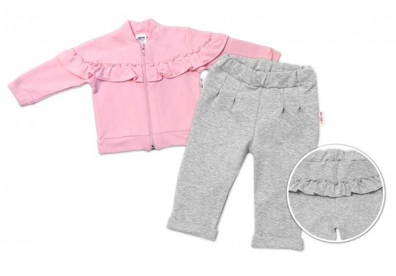 BABY NELLYS Dětská tepláková souprava s volánkem SWEET LADY - růžová, šedá, vel. 98