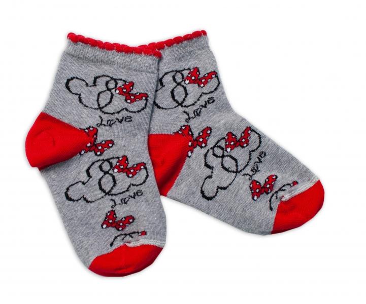 Baby Nellys Bavlněné ponožky Minnie Love - šedé, vel. 17-18 cm