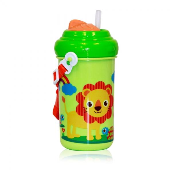 Dětský pohár na pití Lorelli se slámkou 300 ML FUNNY ZOO GREEN