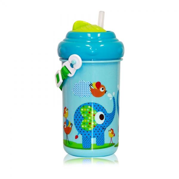 Dětský pohár na pití Lorelli se slámkou 300 ML FUNNY ZOO BLUE