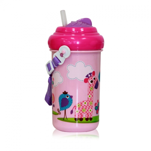 Dětský pohár na pití Lorelli se slámkou 300 ML FUNNY ZOO PINK