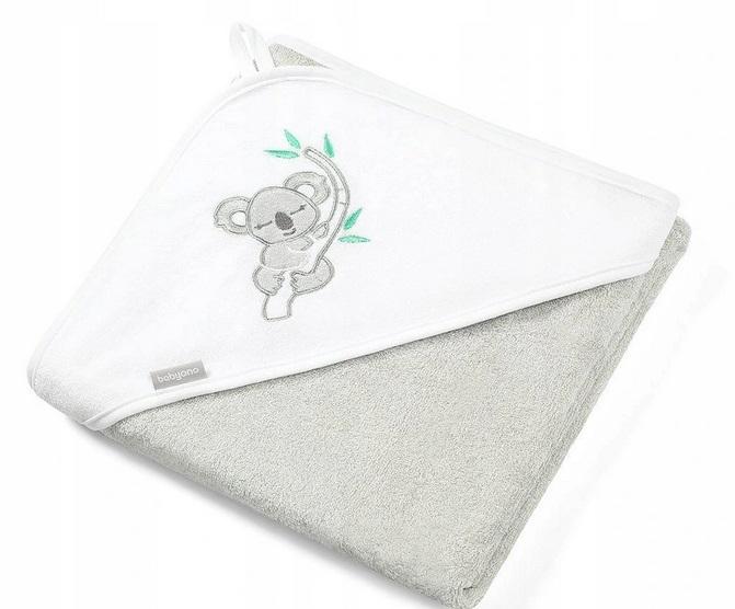 BabyOno Bambusová osuška s kapucí Koala 85x85cm - šedá