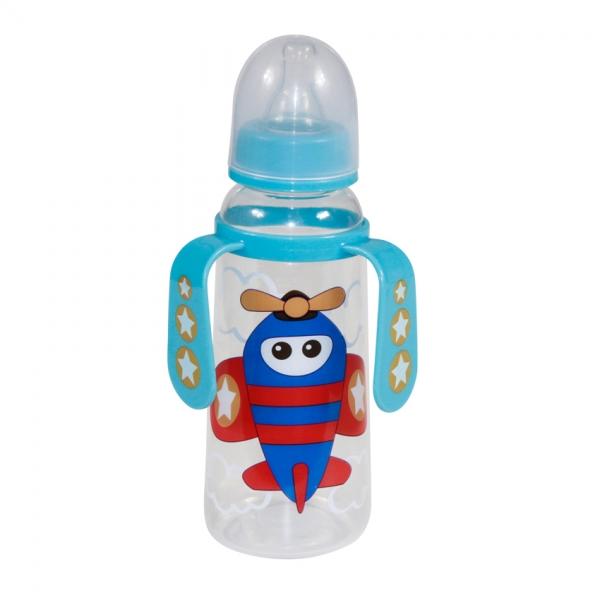 Dětská kojenecká láhev s oušky Lorelli 250 ml BLUE PLANE