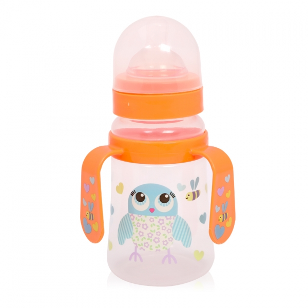 Láhev na krmení s oušky Lorelli 250 ml s širokým hrdlem ORANGE OWL