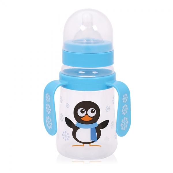 Láhev na krmení s oušky Lorelli 250 ml s širokým hrdlem BLUE PENGUIN