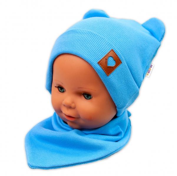 Baby Nellys Žebrovaná dvouvrstvá čepice s oušky + šátek TEDDY - modrá
