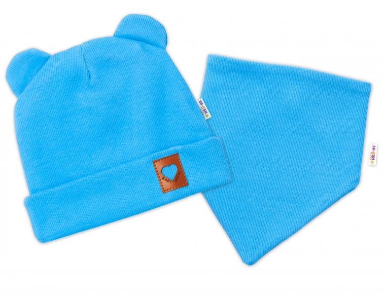 Baby Nellys Žebrovaná dvouvrstvá čepice s oušky + šátek TEDDY - modrá, vel. 40-42