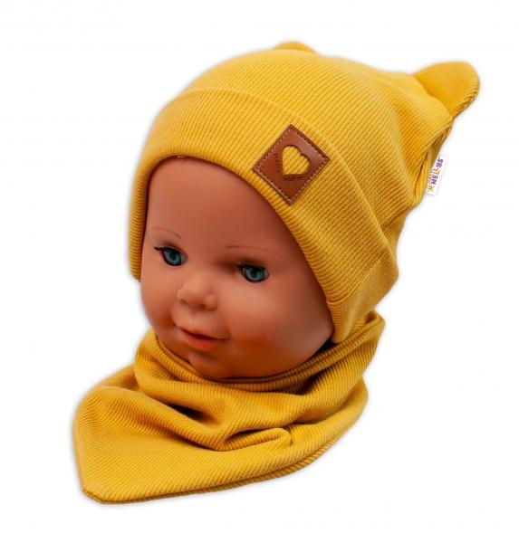 Baby Nellys Žebrovaná dvouvrstvá čepice s oušky + šátek TEDDY - hořčicová