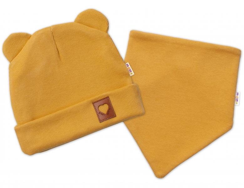 Baby Nellys Žebrovaná dvouvrstvá čepice s oušky + šátek TEDDY - hořčicová, 48-50