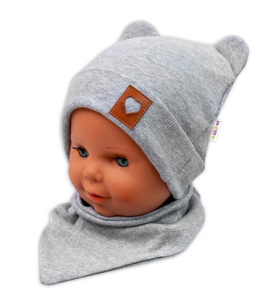 Baby Nellys Žebrovaná dvouvrstvá čepice s oušky + šátek TEDDY - šedá