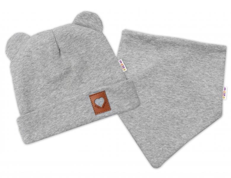 Baby Nellys Žebrovaná dvouvrstvá čepice s oušky + šátek TEDDY - šedá, 48-50
