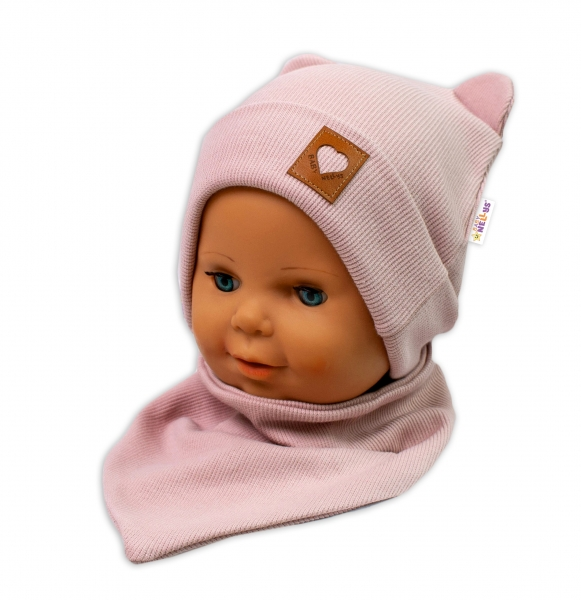 Baby Nellys Žebrovaná dvouvrstvá čepice s oušky + šátek TEDDY - pudrová
