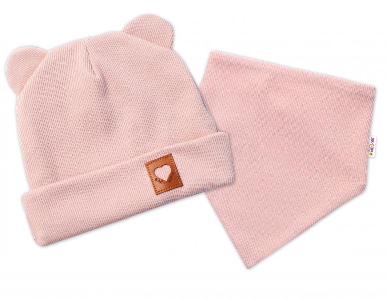 Baby Nellys Žebrovaná dvouvrstvá čepice s oušky + šátek TEDDY - pudrová, 44-46