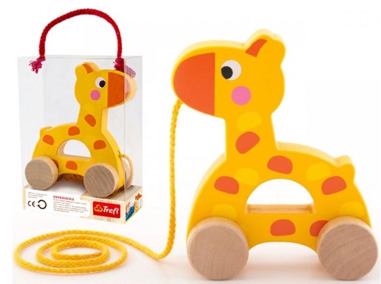 Trefl Edukační dřevěná hračka 14 cm tahací - Žirafka