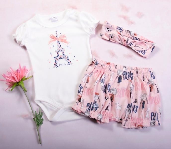 K-Baby 3dílná dětská sada, body s kr. rukávem, kraťásky, čelenka Love Paris, pink