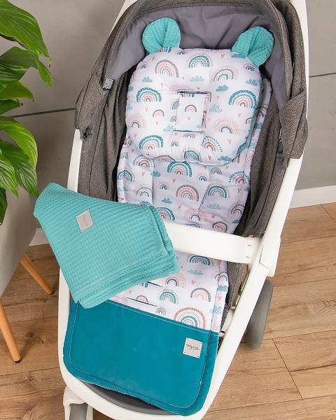 Baby Nellys 2-dílná sada do kočárku Vafel + bavlna PREMIUM, Duha