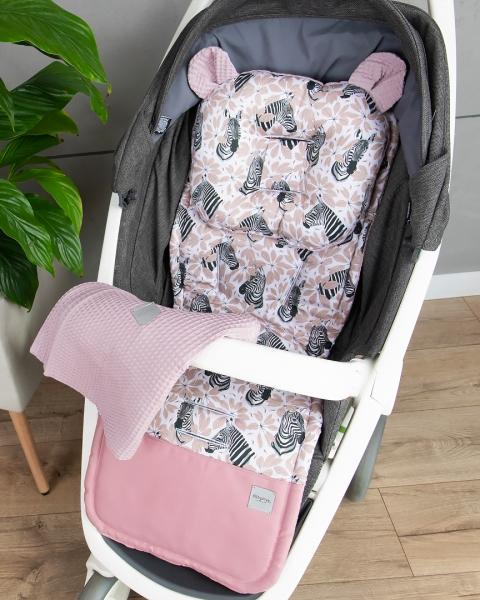 Baby Nellys 2-dílná sada do kočárku Vafel + bavlna PREMIUM, Zebra