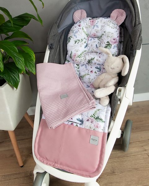 Baby Nellys 2-dílná sada do kočárku Vafel + bavlna PREMIUM, Růžičky