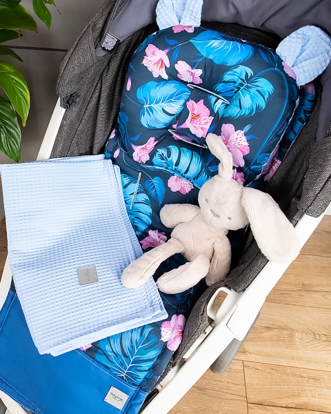 Baby Nellys 2-dílná sada do kočárku + dečka, Vafel + bavlna PREMIUM, Petúnie