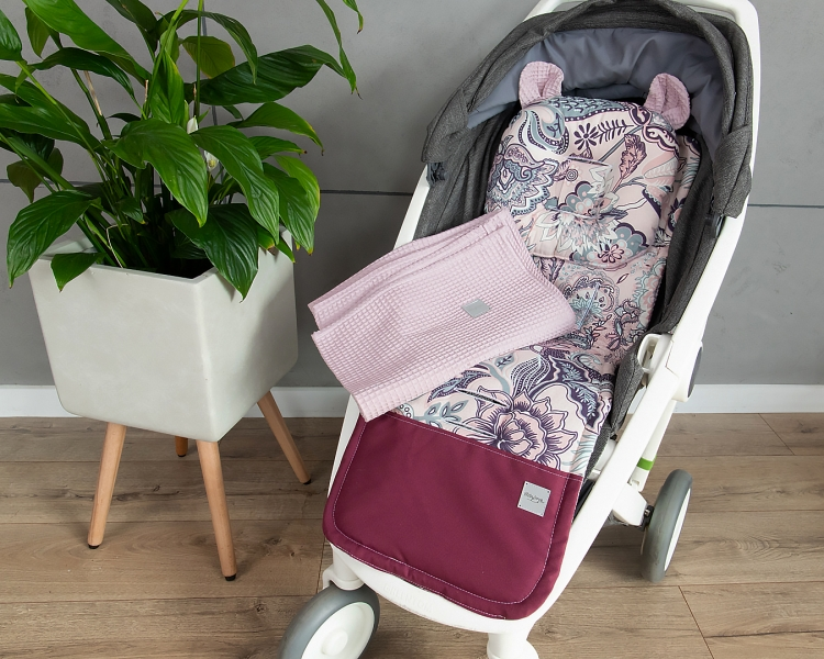 Baby Nellys 2-dílná sada do kočárku + dečka, Vafel + bavlna PREMIUM, Květy - retro