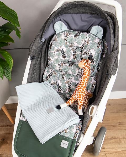Baby Nellys 2-dílná sada do kočárku + dečka, Vafel + bavlna PREMIUM, Žirafa