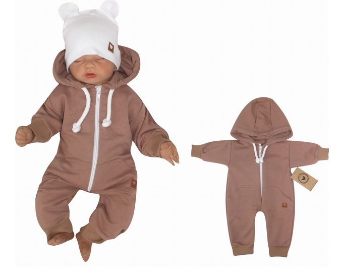 Z&Z Dětský teplákový overálek s kapucí, čokoládový, Velikost: 56 (1-2m)
