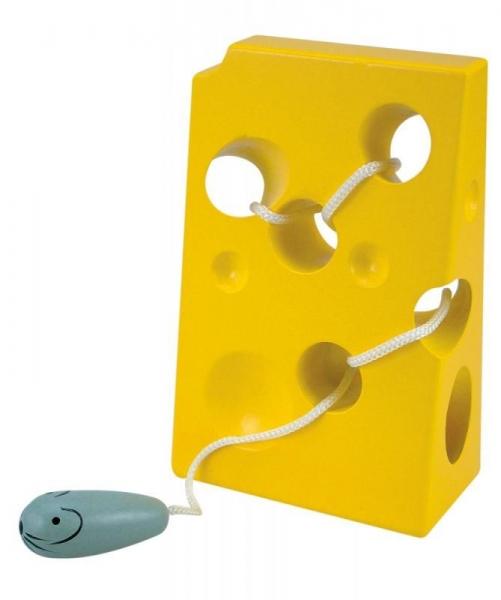 Woody Dětská dřevěná hračka Myška se sýrem - žlutá