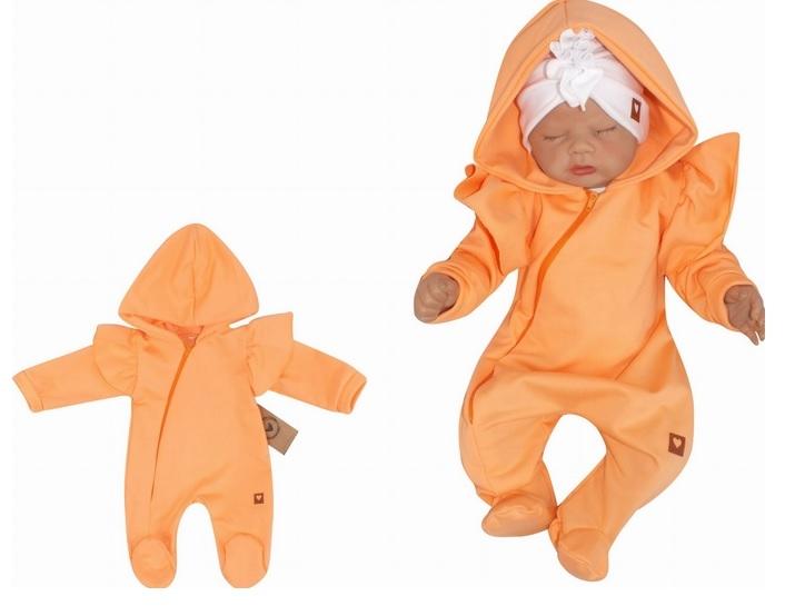 Z&Z Dětský teplákový overálek s volánky a kapucí, meruňkový