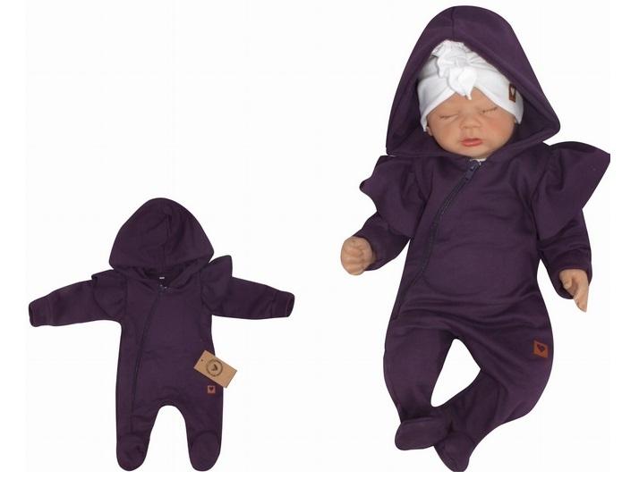 Z&Z Dětský teplákový overálek s volánky a kapucí, fialový