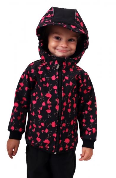 JOŽÁNEK Dětská softshellová bunda, plameňáci, černá, vel. 128