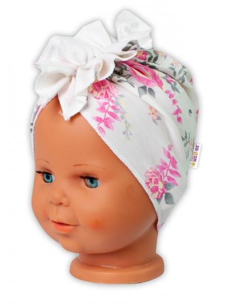 Baby Nellys bavlněná čepice, turban New Roses, smetanová, vel. 44-48