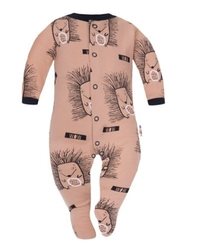Baby Nellys Overálek Ježci, zapínání uprostřed, hnědý, Velikost: 56 (1-2m)