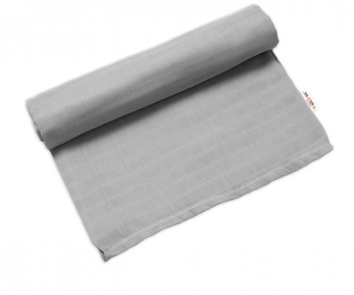 Baby Nellys Mušelínová osuška Lux , 120 x 120 cm, šedá