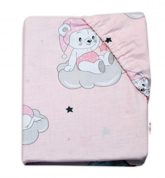 Baby Nellys Dětské bavlněné prostěradlo do postýlky, Mráček - růžové, 140 x 70 cm
