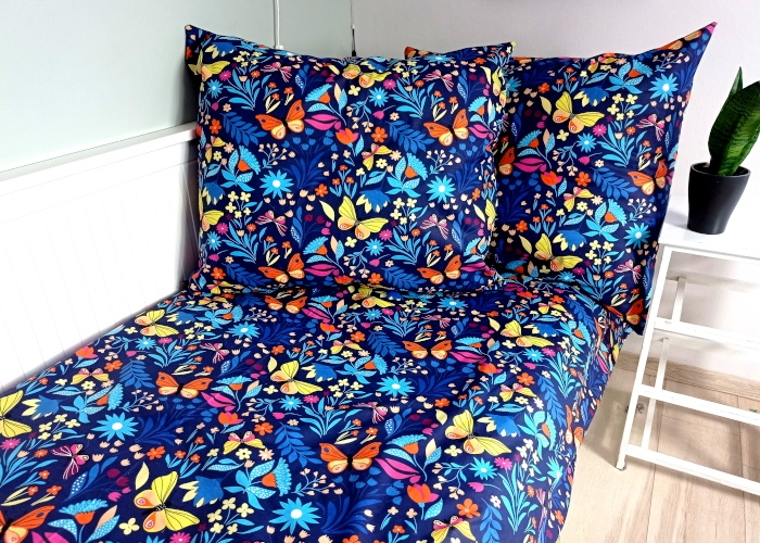 Baby Nellys 2-dílné bavlněné povlečení 140 x 200/70 x 90 - Motýlí louka, granát