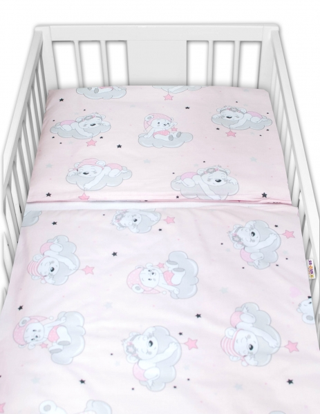Baby Nellys 2-dílné bavlněné povlečení, Mráček - růžová