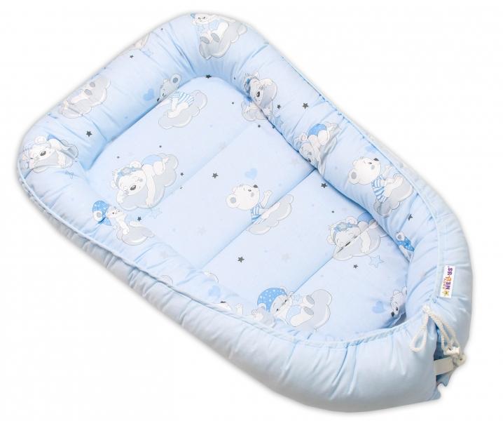 Baby Nellys Bavlněné oboustranné hnízdečko , 55x75cm, Mráček - modrá