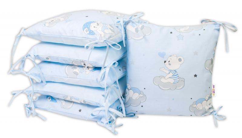 Baby Nellys Bavlněný polštářkový mantinel, Mráček - modrá
