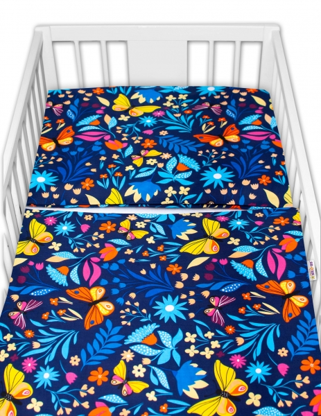 Baby Nellys 2-dílné bavlněné povlečení - Motýlí louka, granát, 135x100